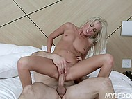 Blonde with left pierced nipple acts like a bitch and she faces sex punishment by bald husband