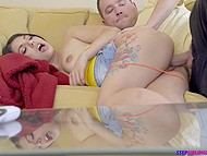 Brave boy manages to sneakily fuck and creampie tiny Latina stepsis Gina Valentina in the living room