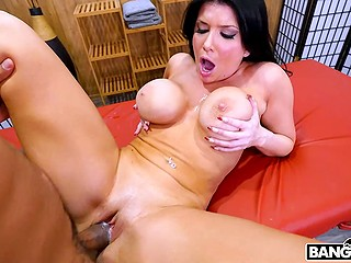 Black-haired bombshell Romi Rain penetrated with impressive BBC in several amazing ways