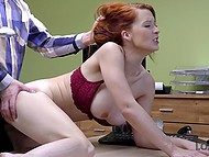In exchange for loan red-haired MILF with big boobs Isabella Lui agrees to have sex with moneylender