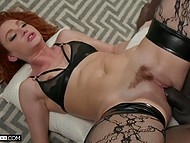 Sweet redhead in sexy stockings Lacy Lennon cheats on hubby with hunky black bull