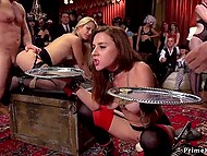 Young slaves wearing stockings take part in orgy that people watch with pleasure