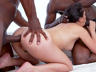 Two black young men shock white woman penetrating her unprepared mouth and tushy