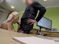 Platinum blonde Czech needs a loan that she will receive faster if gives a blowjob