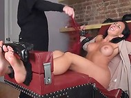 Busty brunette cougar was bound and tortured with tickling