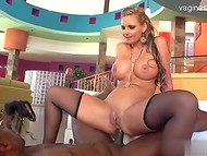 Busty blonde bombshell in hot stockings gets volcanic orgasms by big black cock