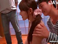 Shy Japanese girl sucks strangers' dick with real delight