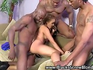 Charming blonde hottie got three black cocks in three tight holes