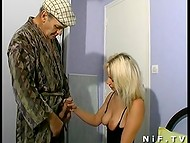 Slutty blonde fucked in all holes by the worker and voyeur papy