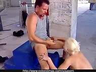 Beautiful blonde gently fucked in her tight ass by a construction worker