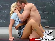 Horny blonde schoolgirl seduces her teacher for good grade in the classroom