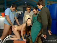 Four hungry hunkies banging slender girl at their raw and dirty workplace