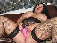 Big booty brunette makes herself entirely satisfied with a gigantic pink dildo