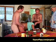French old man with small cock triumphantly returns in the group sex in the kitchen