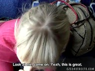After the short conversation with blonde Czech girl she starts sucking cameraman's cock