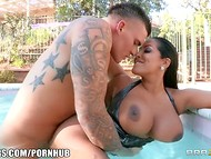 Really hard sex scene with big-titted brunette bitch and her strong partner in the pool