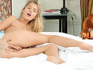 Charming babe stimulated her gentle asshole with experienced fingers in the HD solo video