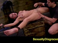 Alluring brunette whore was fixedly tied up and roughly fucked by horny man