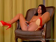 Mesmerizing teen bombshell in red high heels testing pocket rocket for the first time