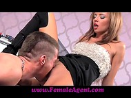 Lustful female agent spreads her legs after asking provocative questions